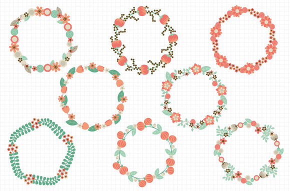 Pretty Floral Wreaths Coral Mint
