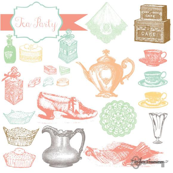 Tea Party Vintage Clipart Brushes