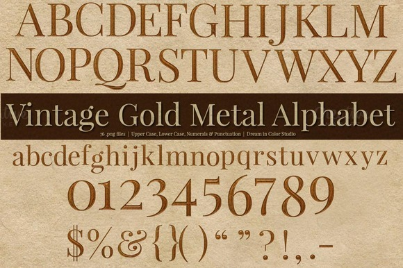 Vintage Gold Metal Alphabet