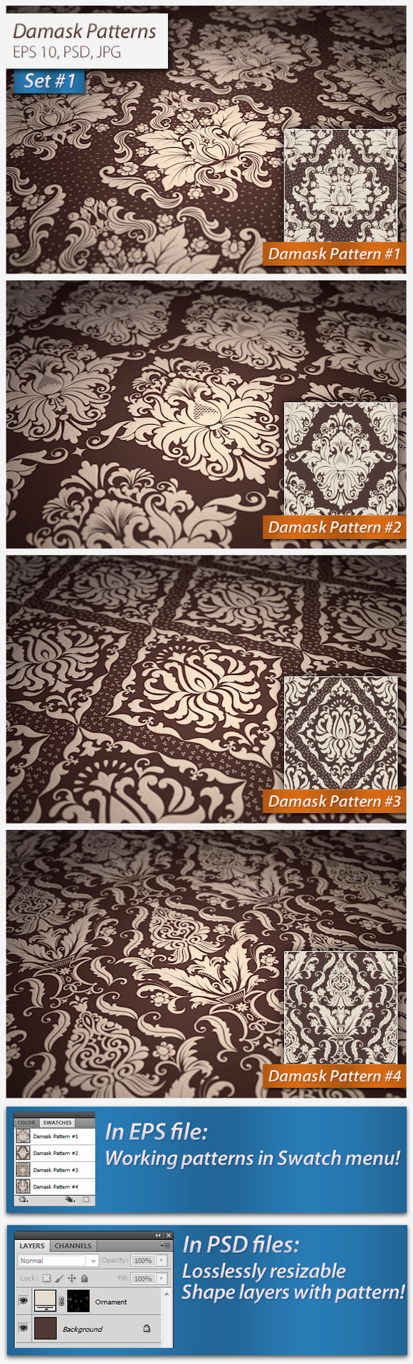 Vector Damask Patterns