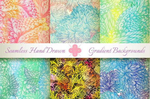 6 Gradient Seamless Florals