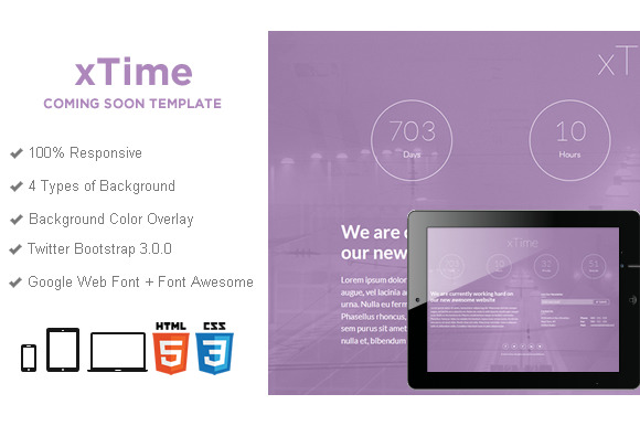 XTime Coming Soon HTML5 Template
