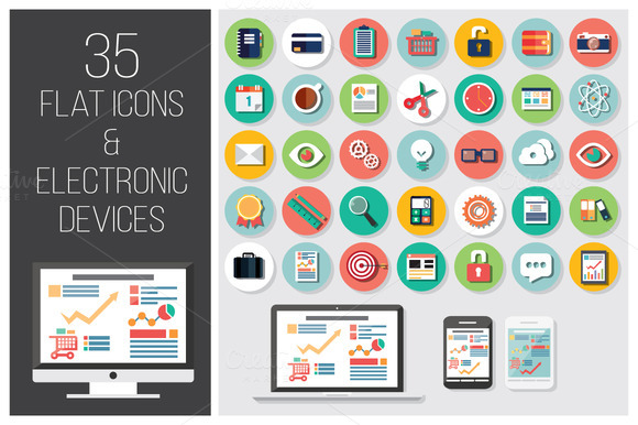 35 Flat Icons 4 Electronic Devices