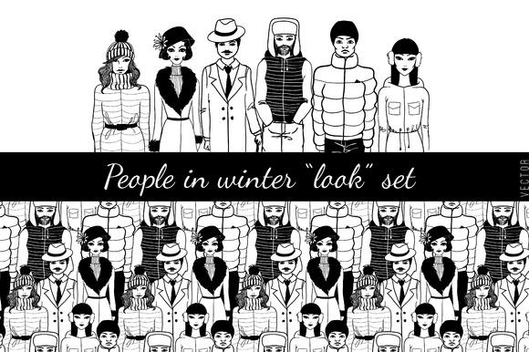 People In Winter Look Set