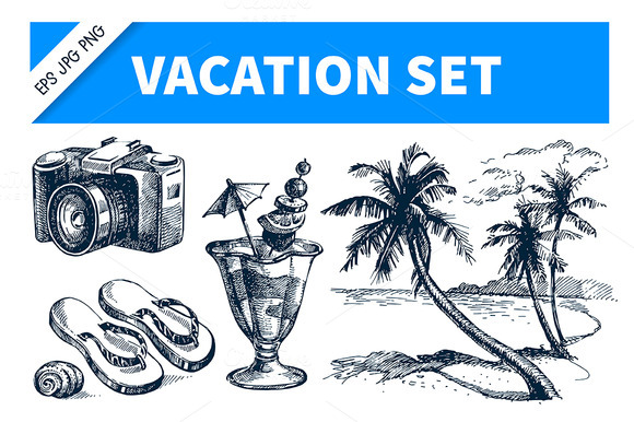 Vacation Hand Drawn Sketch Set