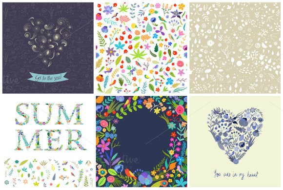 29 Summer Patterns EPS JPG