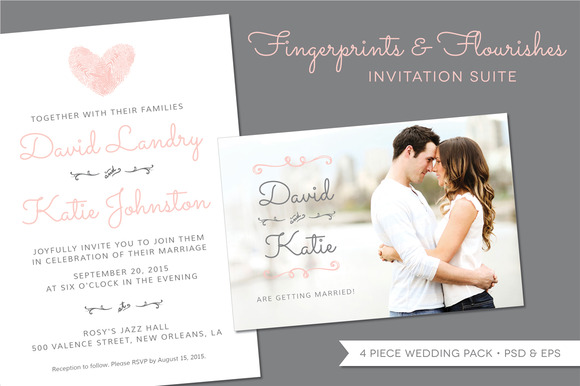 Fingerprint Wedding Invitation Suite