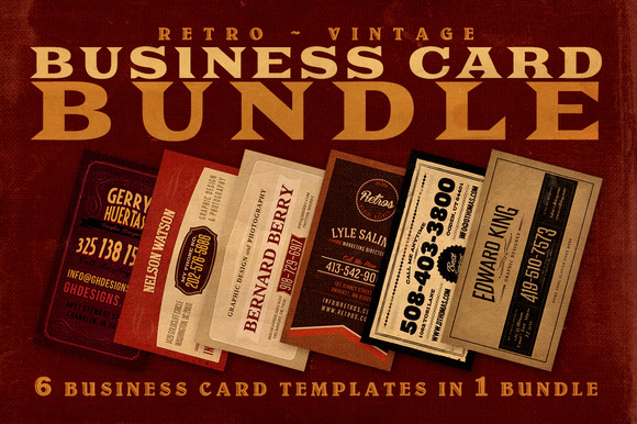 SALE 6Retro Business Cards 60% Off