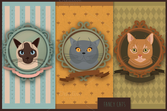 Fancy Cats Vector Set