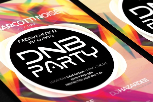 DnB Party Club Colorful Poster Flyer