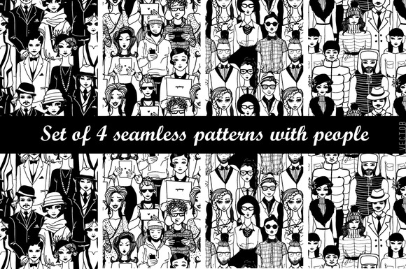 Set Of 4 Patterns With People