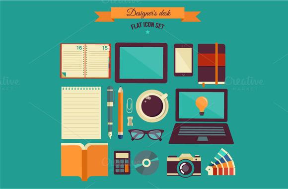 Designer S Desk Flat Illustration