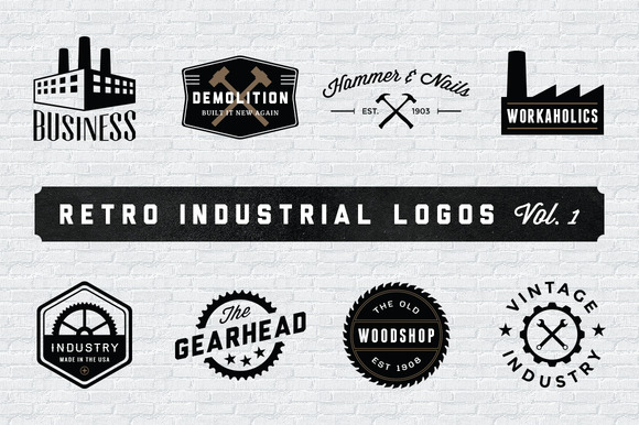 Retro Industrial Logos Volume 1
