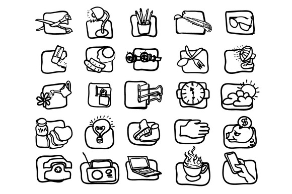 Hand Drawn Art Icon Set