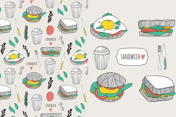 Hand Drawn Sandwich Set