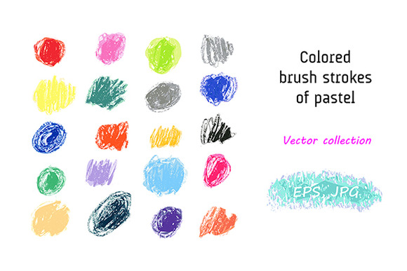 Vector Set Pastel Brush Strokes