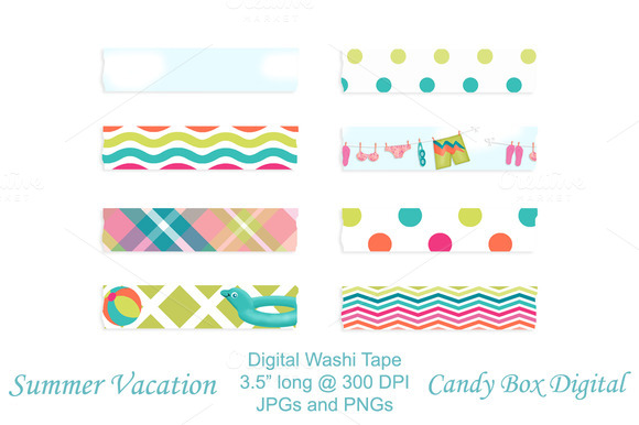 Summer Vacation Digital Washi Tape