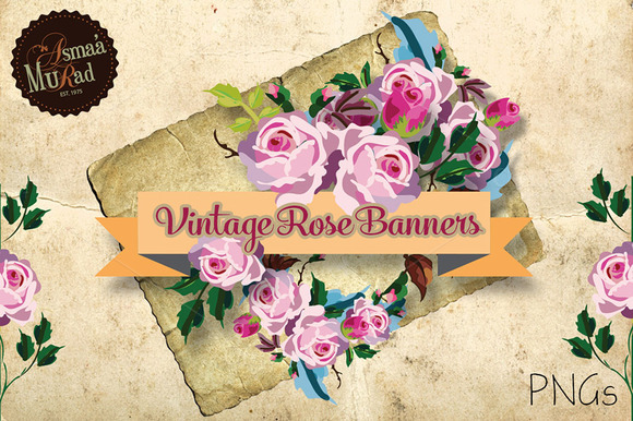 Vintage Shabby Roses Banners