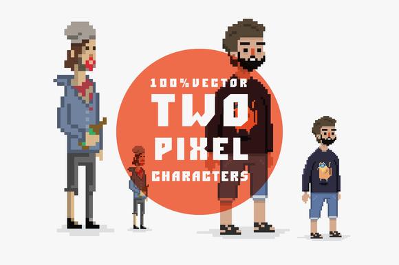 Pixel Style Guys 100% Vector