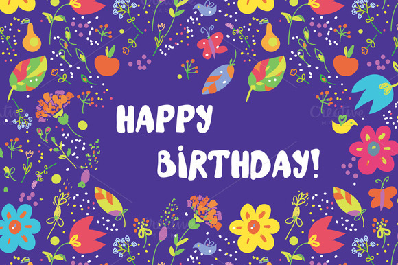 Happy Birthday Floral Cards Vector