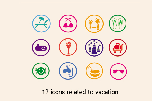 12 Icons Related To Vacation