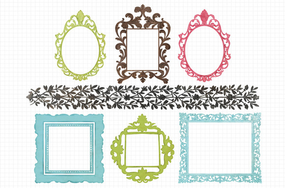 Grungy Texture Filigree Frames