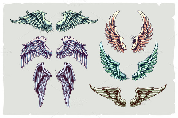Set Of Hand-drawn Wings