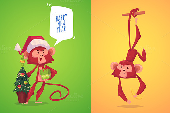 Two Cute Monkeys Symbol Of New Year