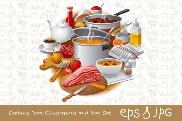 Cooking Food Illustrations And Icon