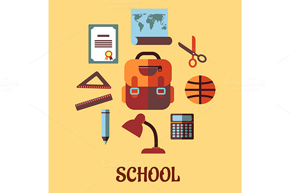 Infographic School Education In Flat