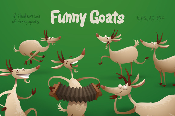 Funny Goats Bundle Vector