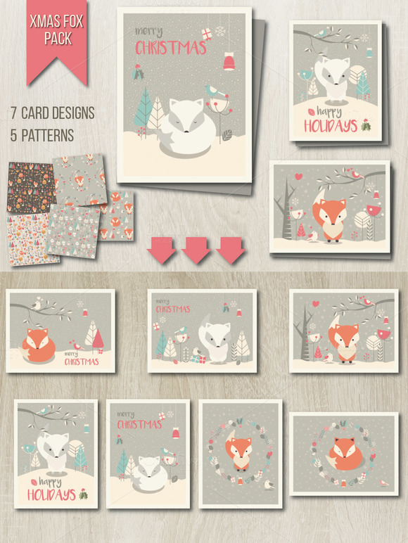 Xmas Fox Pack Cards Patterns