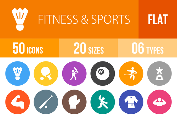 50 Fitness Sports Flat Round Icons