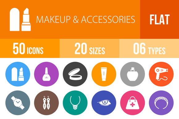 50 Makeup Accessories Flat Round