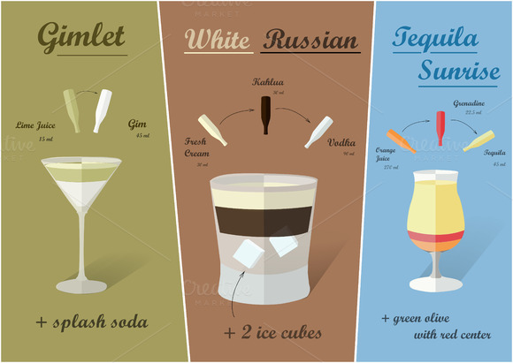 Cocktail Recipes Vector