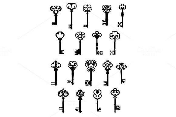 Large Set Of Ornate Vintage Keys