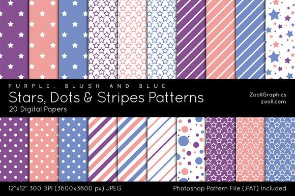 Stars Dots Stripes Digital Papers