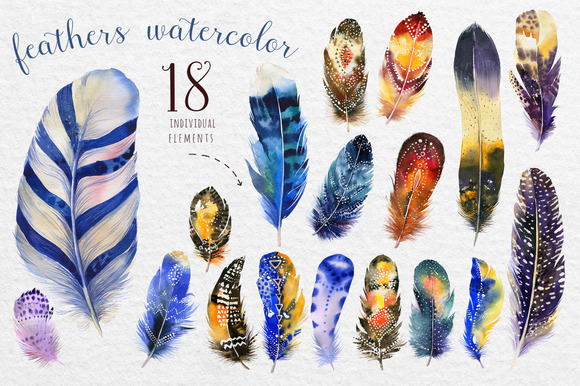 Watercolor BOHO Feather DIY III