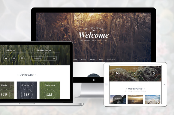 PSD One Page Natural Fresh Template