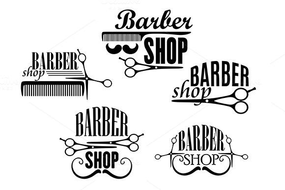 Barber Shop Badges Or Signs Set