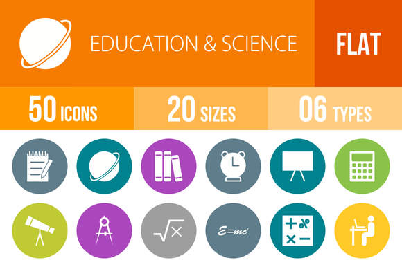 50 Education Science Flat Round