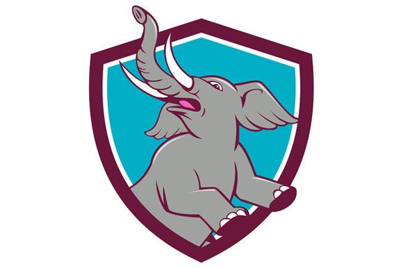 Elephant Prancing Crest Cartoon