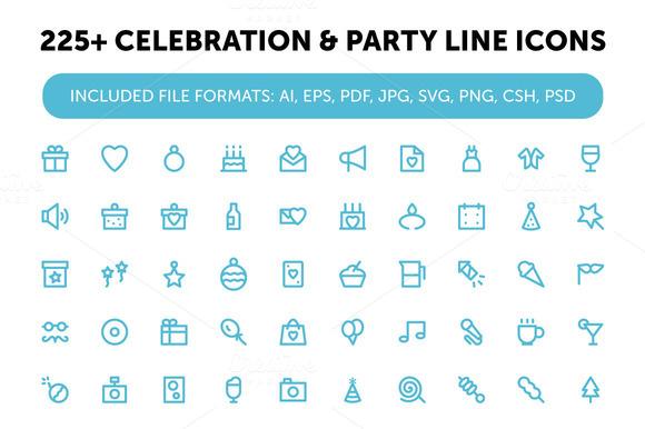 225 Celebration Party Line Icons