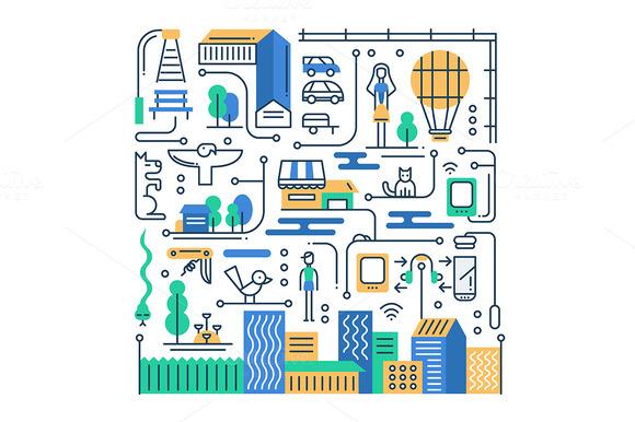 City Lifestyle Line Composition
