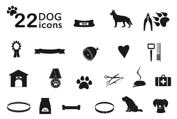 Set Of Black Dog Icons