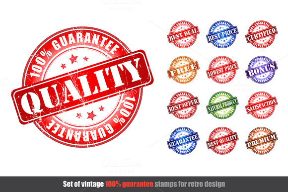 Set Of Quality Guarantee Stamps
