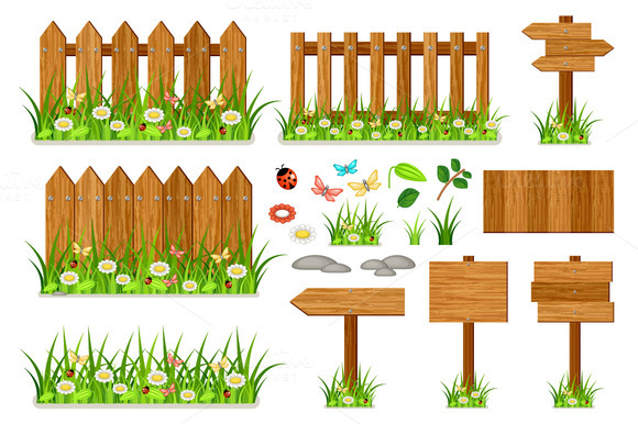 Wooden Fence Set