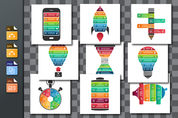 9 Segmented Objects For Infographic