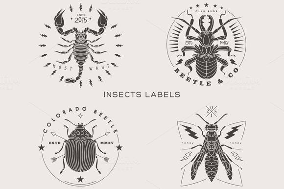 Vintage Insect Labels