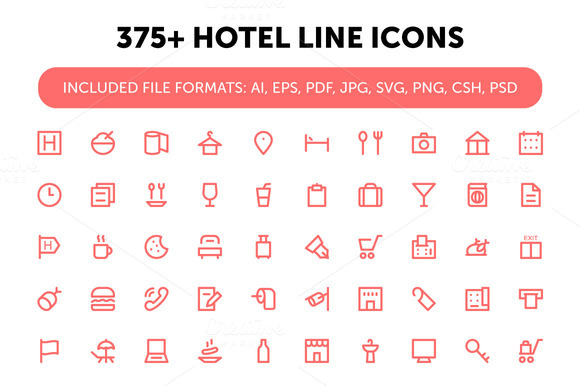 375 Hotel Line Icons
